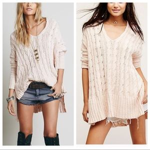 Free People Easy Cable Knit V-Neck Sweater